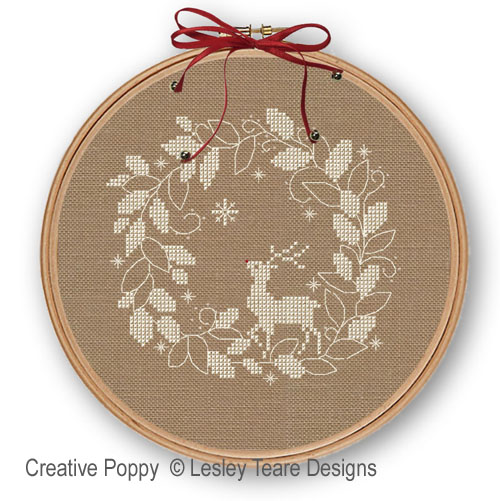Snow Deer cross stitch pattern by Lesley Teare