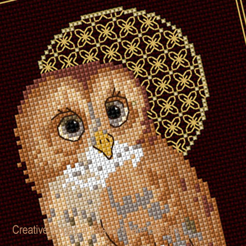 Tawny Owl with decorative Moon cross stitch pattern by Lesley Teare Designs, zoom 1