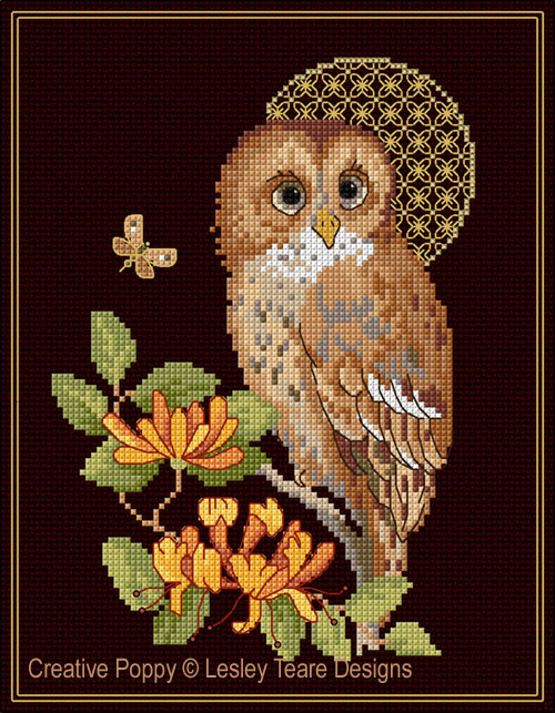 Tawny Owl with decorative Moon cross stitch pattern by Lesley Teare Designs
