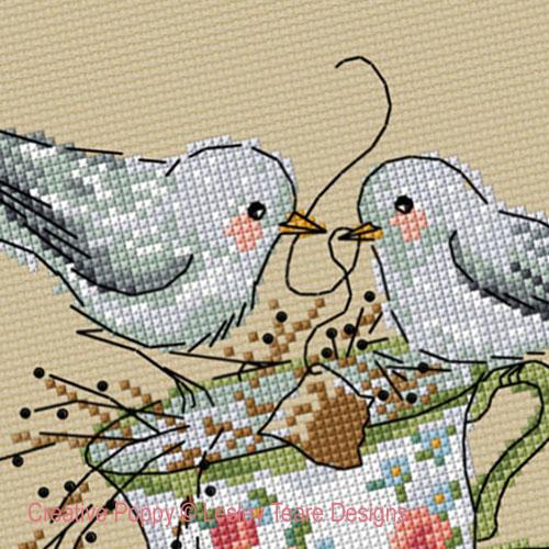 Teatime Birds cross stitch pattern by Lesley Teare Designs