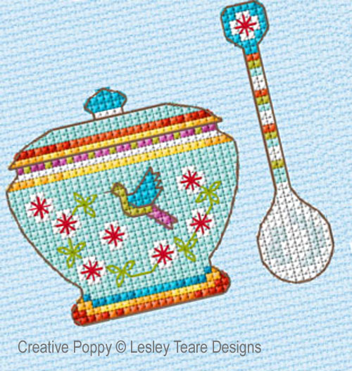 Teatime Sampler cross stitch pattern by Lesley Teare Designs, zoom 1