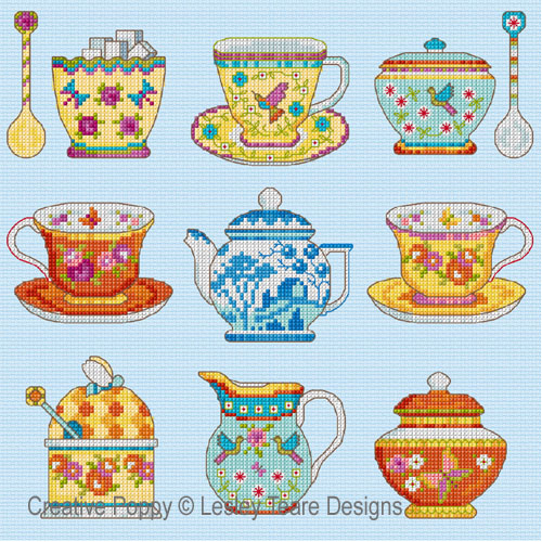 Teatime Sampler cross stitch pattern by Lesley Teare Designs