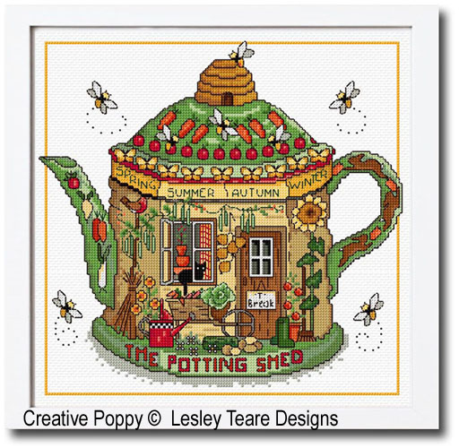 The Potting Shed cross stitch pattern by Lesley Teare Designs