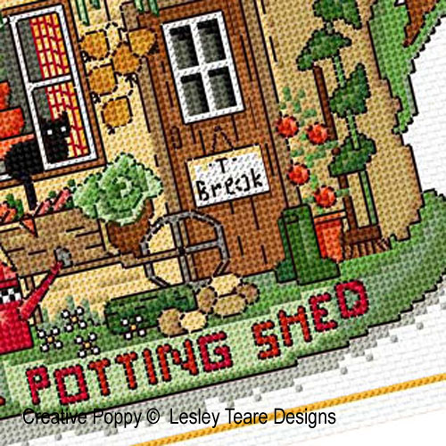 The Potting Shed cross stitch pattern by Lesley Teare Designs, zoom 1
