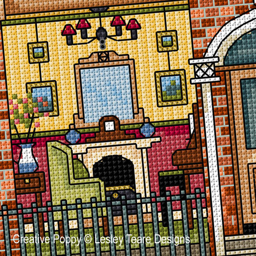 Victorian Dolls House cross stitch pattern by Lesley Teare Designs, zoom 1