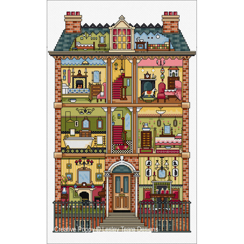 Victorian Dolls House cross stitch pattern by Lesley Teare Designs