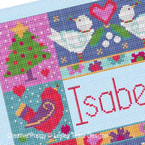Winter Name Cushion cross stitch pattern by Lesley Teare Designs, zoom 1