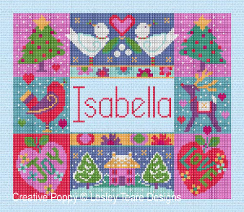 Winter Name Cushion cross stitch pattern by Lesley Teare Designs