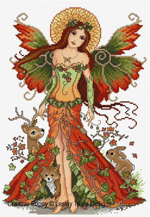 Woodland fairy cross stitch pattern by Lesley Teare Designs