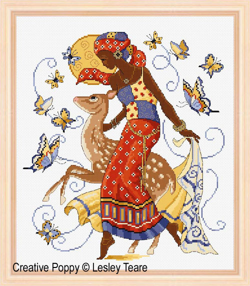 African Beauty cross stitch pattern by Lesley Teare