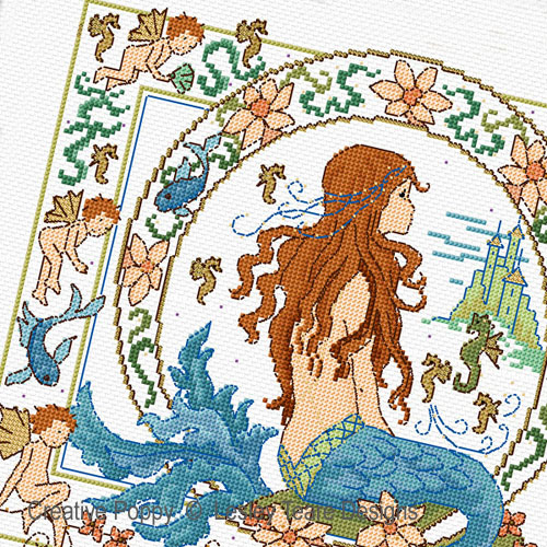 Lesley Teare Designs - Fantasy Mermaid zoom 1 (cross stitch chart)