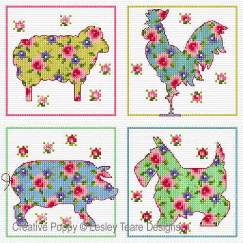 Floral Animals cross stitch pattern by Lesley Teare Designs