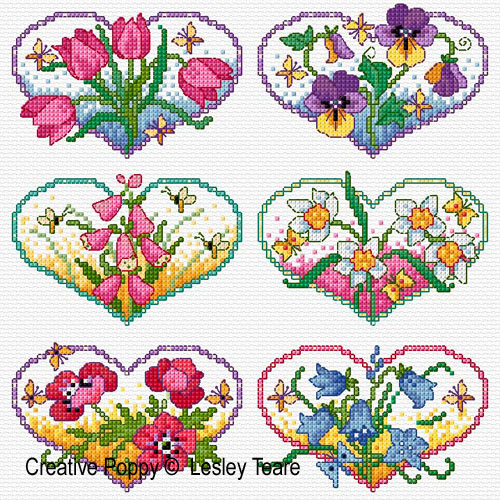 Floral Hearts cross stitch pattern by Lesley Teare Designs