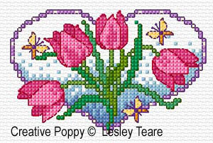 Floral Hearts cross stitch pattern by Lesley Teare Designs, zoom 1