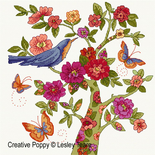 Floral Tree cross stitch pattern by Lesley Teare Designs