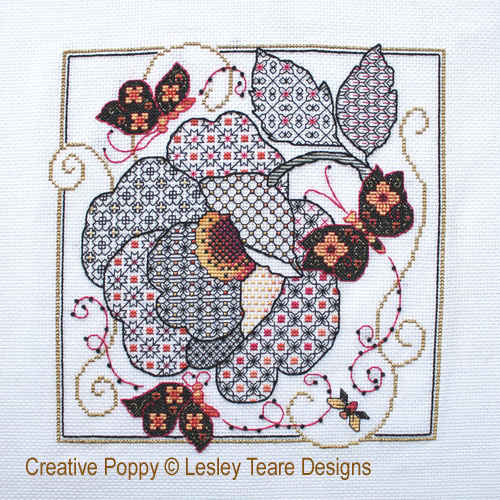 Lesley Teare Designs - Flower & Butterflies Blackwork (cross stitch chart)