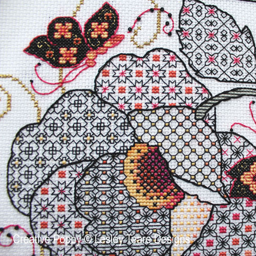 Flower & Butterfly Blackwork cross stitch pattern by Lesley Teare Designs