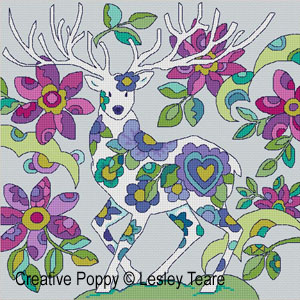 Folk Art deer cross stitch pattern by Lesley Teare Designs