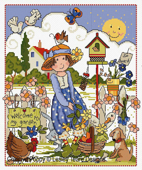 Folk Art Garden cross stitch pattern by Lesley Teare Designs