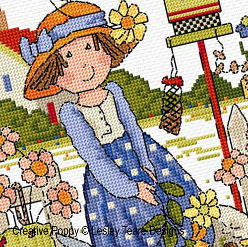 Folk Art Garden cross stitch pattern by Lesley Teare Designs, zoom 1