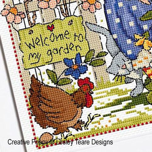 Lesley Teare Designs Folk Art Garden Cross Stitch Pattern