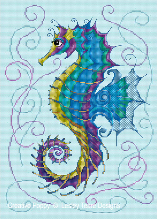 Seahorse cross stitch pattern by Lesley Teare Designs