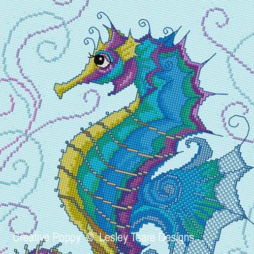 Seahorse cross stitch pattern by Lesley Teare Designs, zoom 1