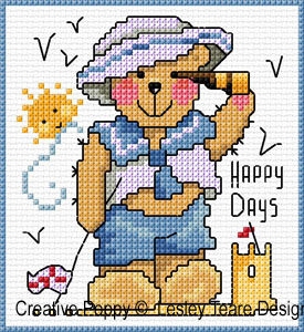 Teddy cards for boys cross stitch pattern by Lesley Teare Designs