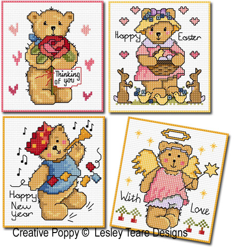 Teddy cards for Happy Occasions cross stitch pattern by Lesley Teare Designs