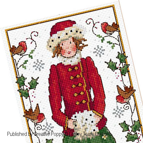 Lesley Teare Designs - Holly Girl zoom 1 (cross stitch chart)