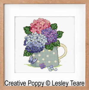 Hydrangeas Bouquet cross stitch pattern by Lesley Teare