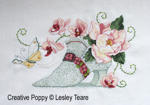 Lesley Teare Designs - 18th century Lace shoe (cross stitch chart)