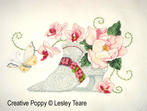 18th century Lace Shoe cross stitch pattern by Lesley Teare