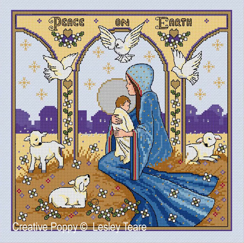 Nativity cross stitch pattern by Lesley Teare Designs