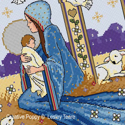 Nativity cross stitch pattern by Lesley Teare Designs, zoom 1
