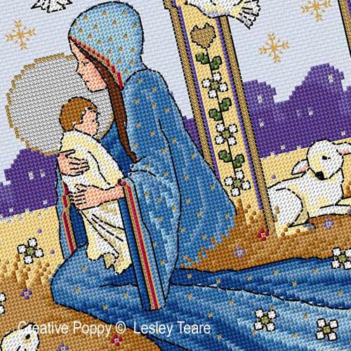 Nativity cross stitch pattern by Lesley Teare Designs, zoom 1