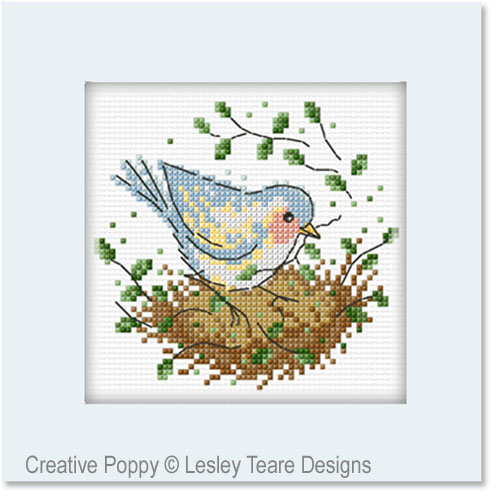 Nesting time cross stitch pattern by Lesley Teare designs