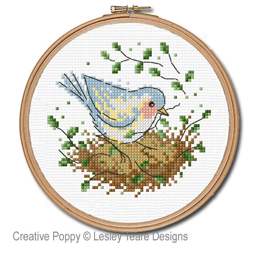 Nesting time cross stitch pattern by Lesley Teare designs, zoom 1
