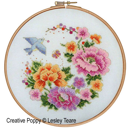 Lesley Teare Designs Oriental Bird And Flower Design Cross Stitch Simple Cross Stitch Flower Patterns