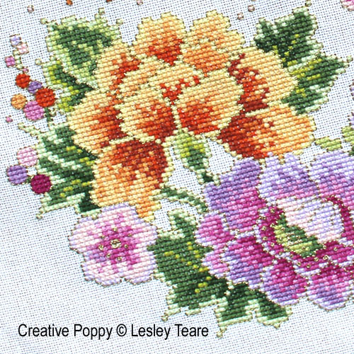 Lesley Teare Designs - Oriental Bird and Flower Design (cross stitch chart)