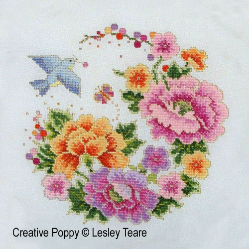 Oriental Bird and Flower Design cross stitch pattern by Lesley Teare
