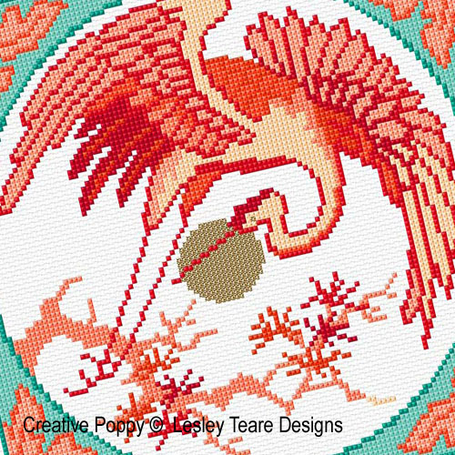 Oriental crane cross stitch pattern by Lesley Teare Designs, zoom 1
