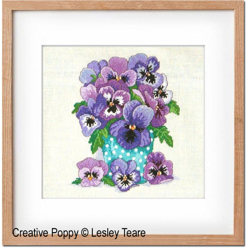 Pansies Bouquet cross stitch pattern by Lesley Teare