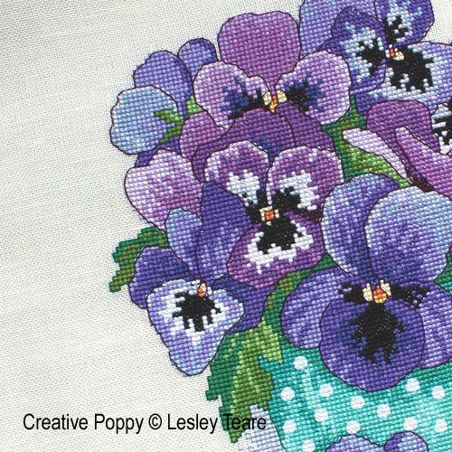 Lesley Teare Designs - Pansy Bouquet zoom 1 (cross stitch chart)