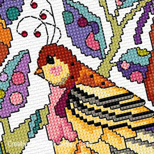 A Partridge in a Pear Tree cross stitch pattern by Lesley Teare Designs, zoom1