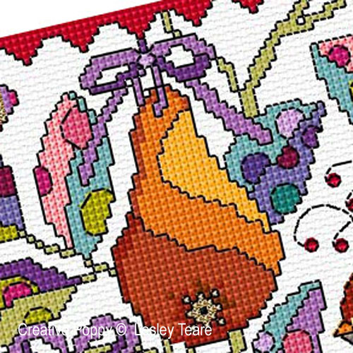 A Partridge in a Pear Tree cross stitch pattern by Lesley Teare Designs, zoom3