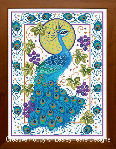 Peacock Finery cross stitch pattern by Lesley Teare Designs