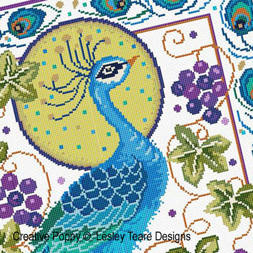 Peacock Finery cross stitch pattern by Lesley Teare Designs, zoom 1