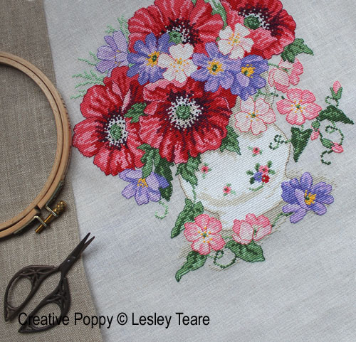 Lesley Teare Designs - Poppy Bouquet (cross stitch chart)