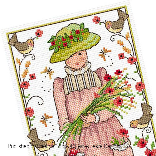 Poppy Girl cross stitch pattern by Lesley Teare Designs, zoom 1